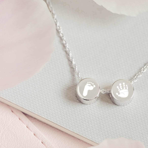 Family Necklace with Two Handprint Footprint Charms