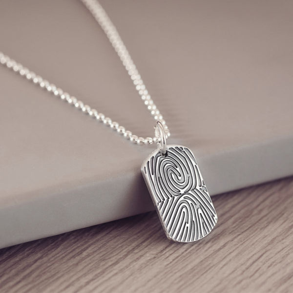 Fingerprint Dog Tag Necklace, Two Prints