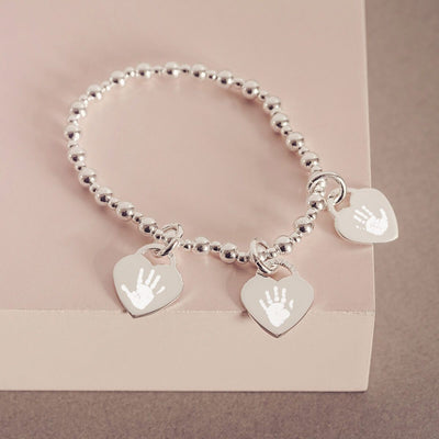 Handprint Or Footprint Silver Bead Bracelet, Three Charms bracelet Handonheartjewellery