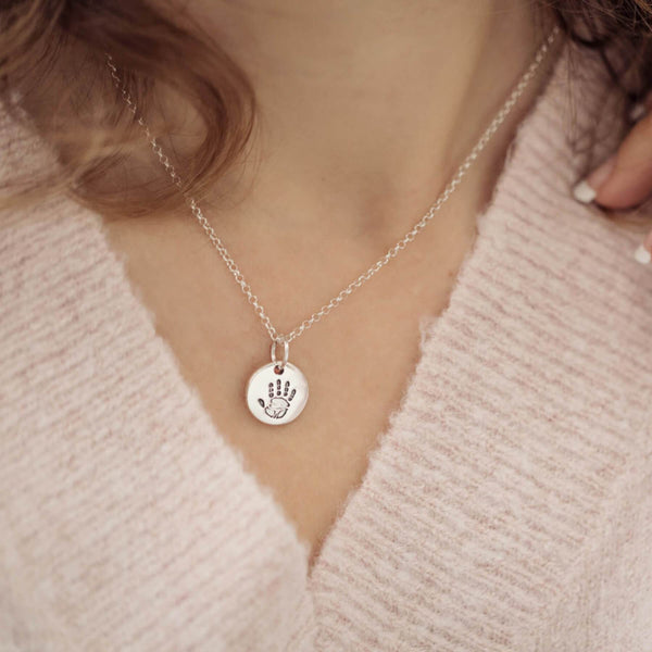 Handprint Or Footprint Round Charm Necklace, One Charm