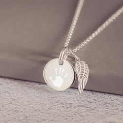 95500919be6 Engraved Handprint Or Footprint Round Charm Necklace With Angel Wing ...