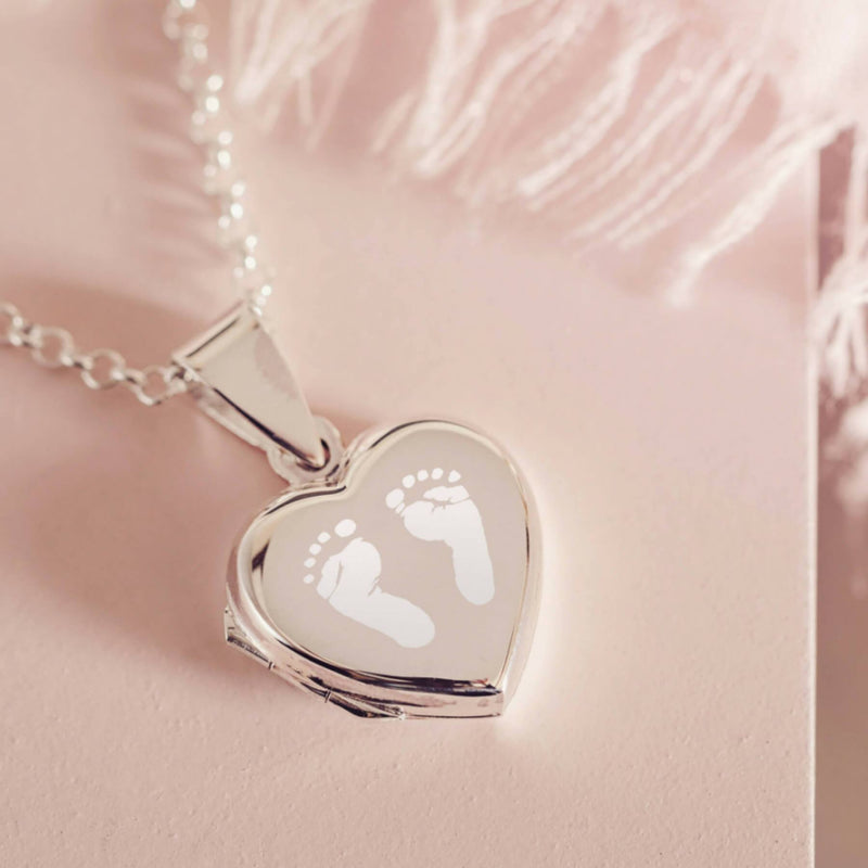 Engraved Handprint Or Footprint Locket, Two Prints