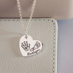 Handprint Or Footprint Large Heart Necklace, Two Prints And One Name