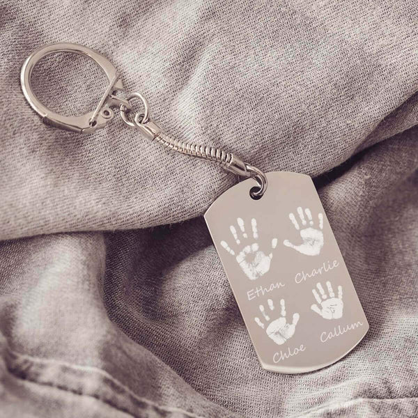 Handprint Keyring With Four Handprints