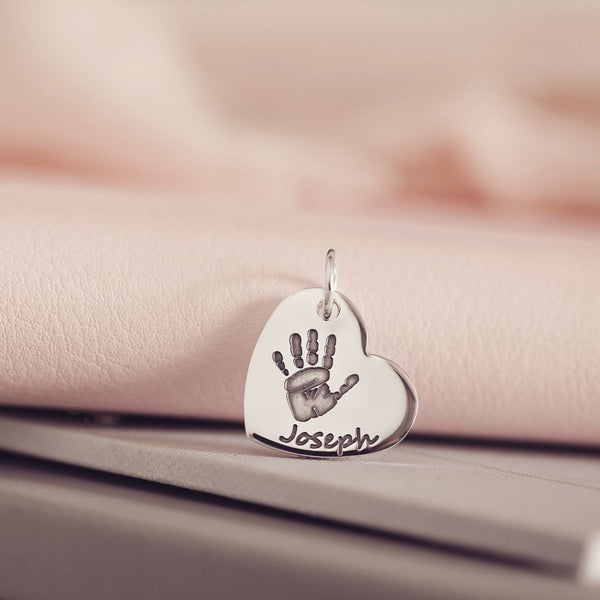 Handprint Or Footprint Large Heart Charm, One Print And One Name