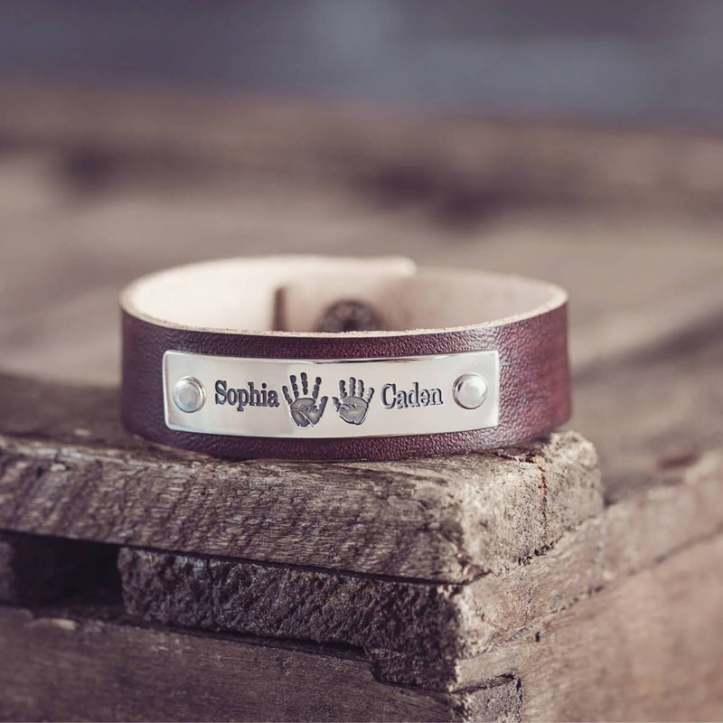 Handprint Leather Bracelet
