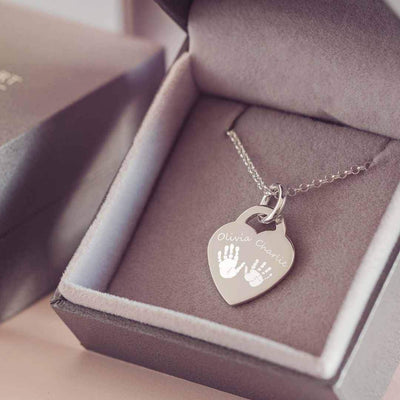 Engraved Handprint Or Footprint Heart Necklace, Two Prints And Two Names Necklace Handonheartjewellery