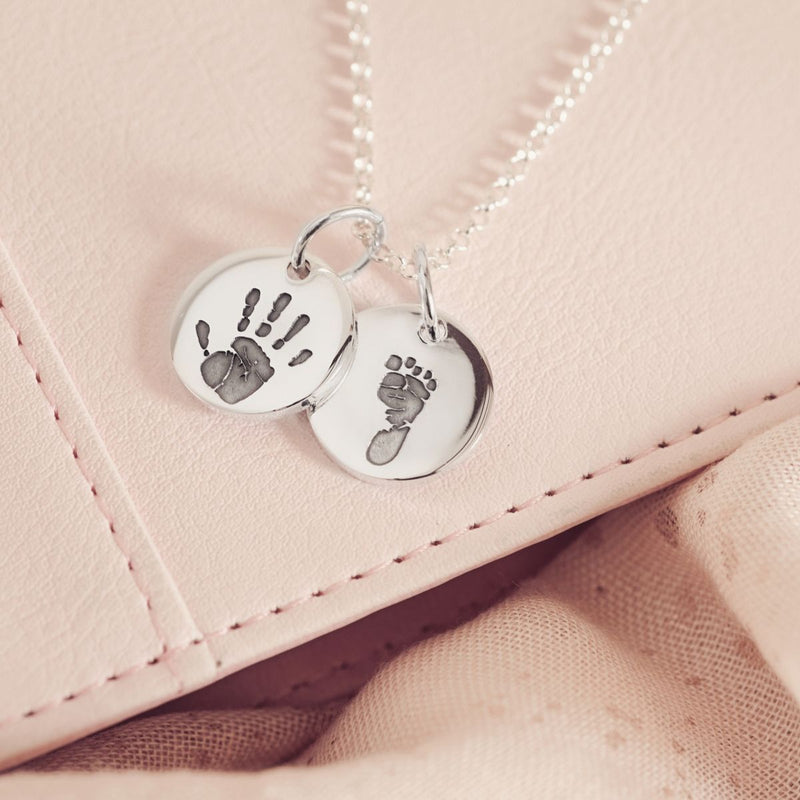 Handprint Or Footprint Round Charm Necklace, Two Charms Necklace Handonheartjewellery