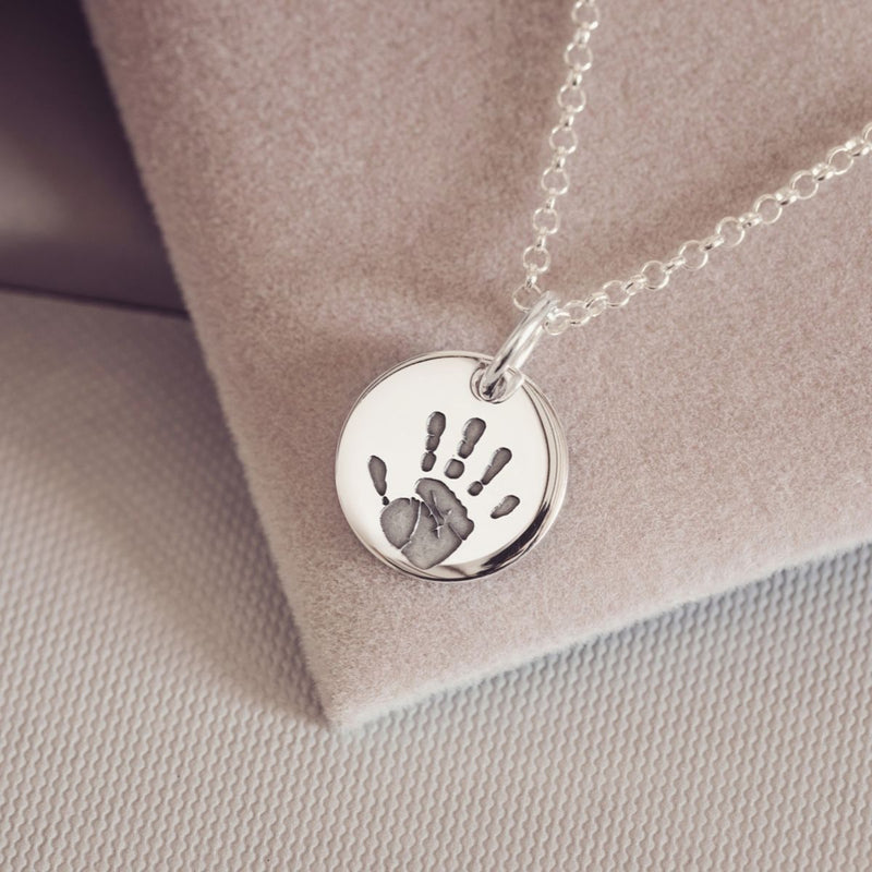 Handprint Or Footprint Round Charm Necklace, One Charm Necklace Handonheartjewellery