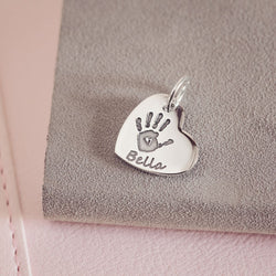 Handprint Or Footprint Small Heart Charm, One Print And Name charms Handonheartjewellery