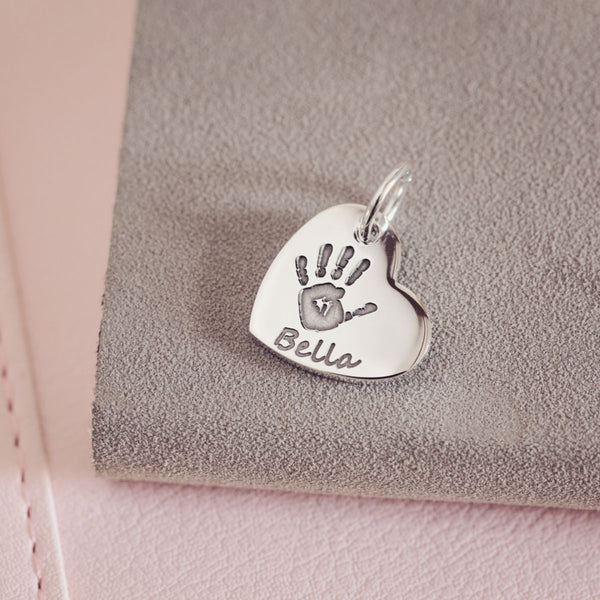 Handprint Or Footprint Small Heart Charm, One Print And Name