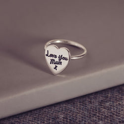 Handwriting Heart Ring