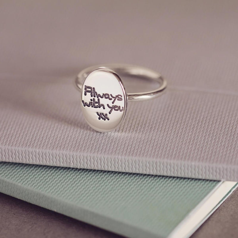 Handwriting Oval Ring