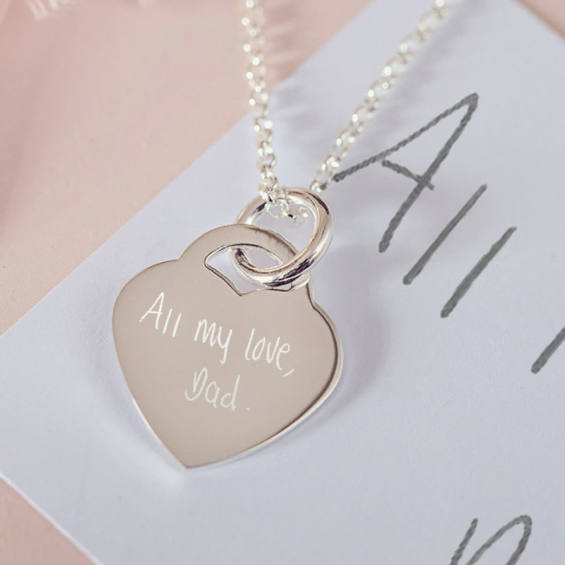 Handwriting Heart Necklace