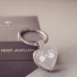 Handprint Heart Keyring With Two Children's Handprints