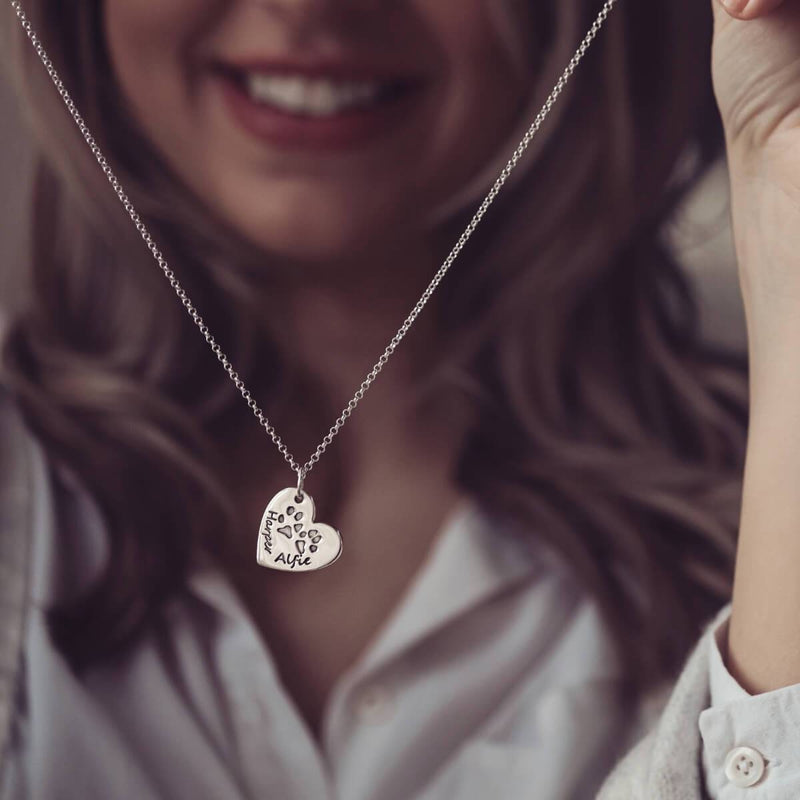 pets pawprint heart necklace