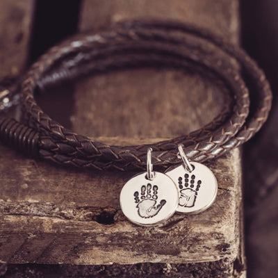 Handprint Or Footprint Leather Wrap Charm Bracelet, Two Charms bracelet Handonheartjewellery