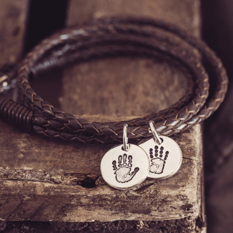 Handprint Or Footprint Leather Wrap Charm Bracelet, Two Charms