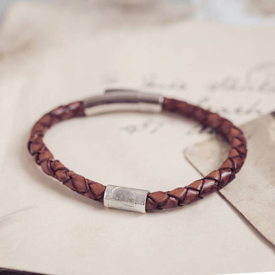 Memorial Leather Charm Bracelet With Fingerprint Bead bracelet Handonheartjewellery