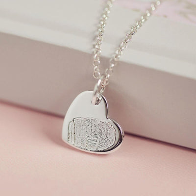 Memorial Fingerprint Heart Necklace Necklace Handonheartjewellery
