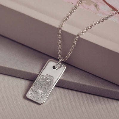 Memorial Fingerprint Tag Necklace Necklace Handonheartjewellery