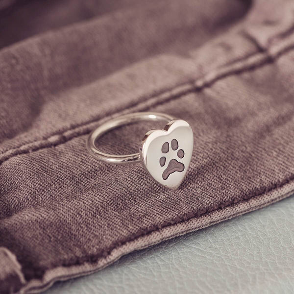 Paw Print Heart Ring