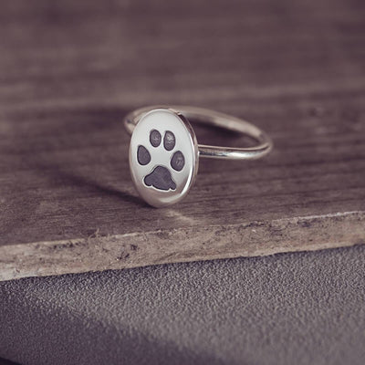 Paw Print Oval Ring, One Print ring Handonheartjewellery