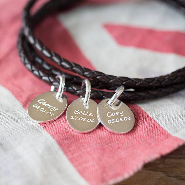 Personalised Leather Wrap Charm Bracelet, Three Charms