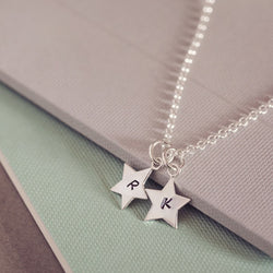 Personalised Silver Star Initial Necklace, Two Charms Necklace Handonheartjewellery