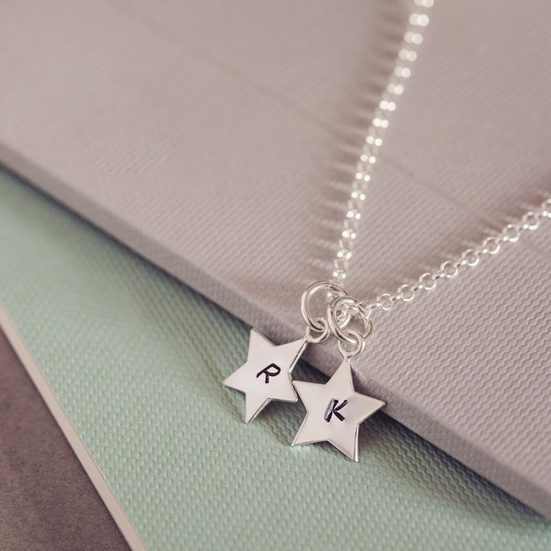 Personalised Silver Star Initial Necklace, Two Charms