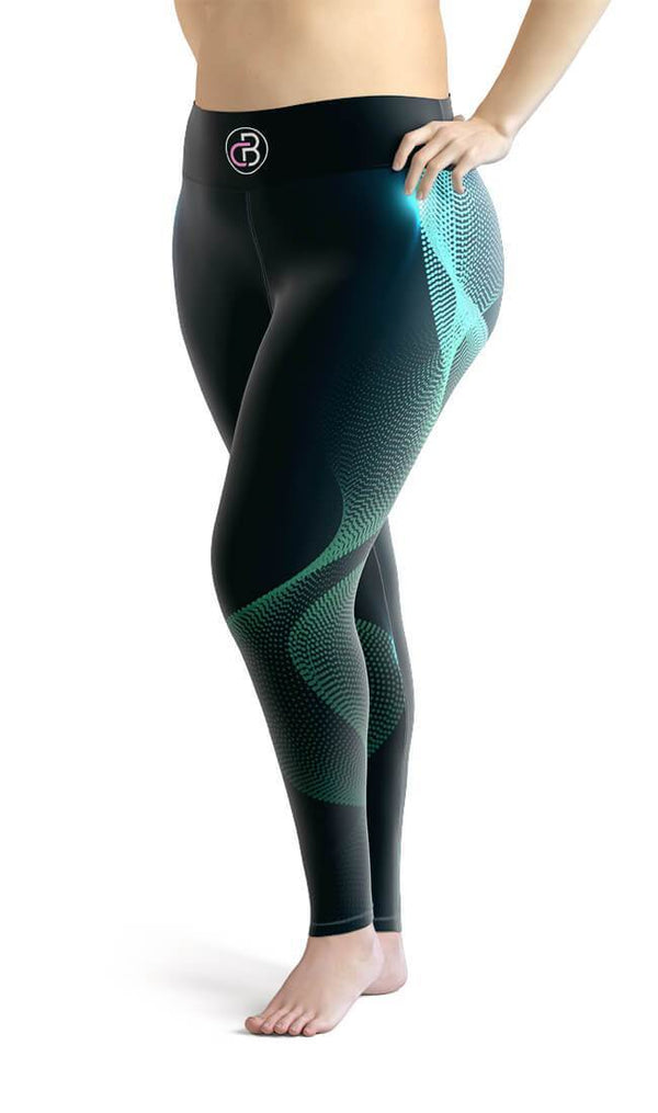 Curvy Bottom Aqua Abstract Waves Plus Size Leggings