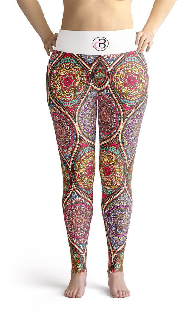 Curvy Bottom Arabic Mandala Watercolor Plus Size Leggings