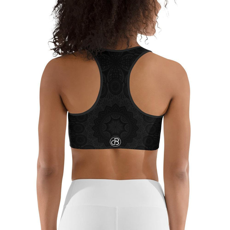 Curvy Bottom Black Lotus Sports bra