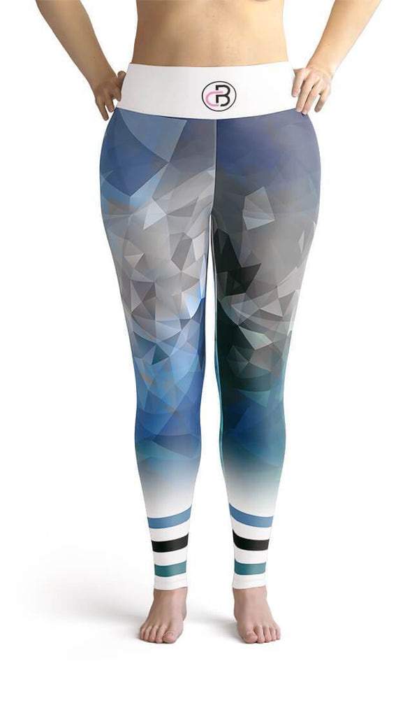 Curvy Bottom Blue Abstract Plus Size Leggings