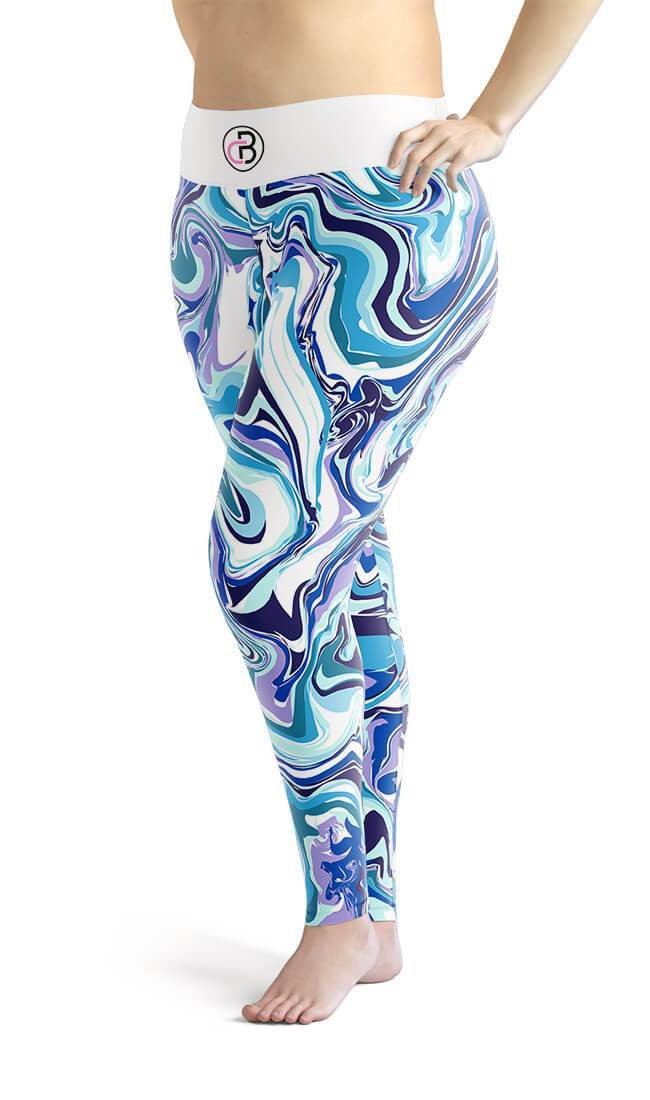Curvy Bottom Blue Marble Plus Size Leggings