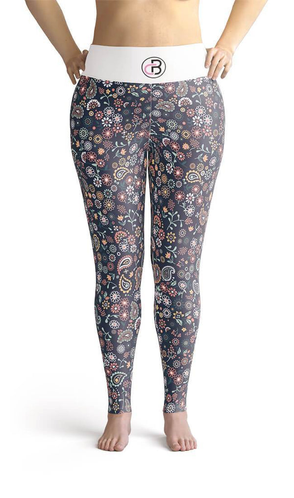 Curvy Bottom Blue Spring Magic Plus Size Leggings