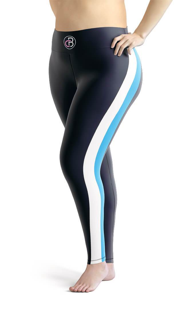 Curvy Bottom Blue & White Stripe Plus Size Leggings