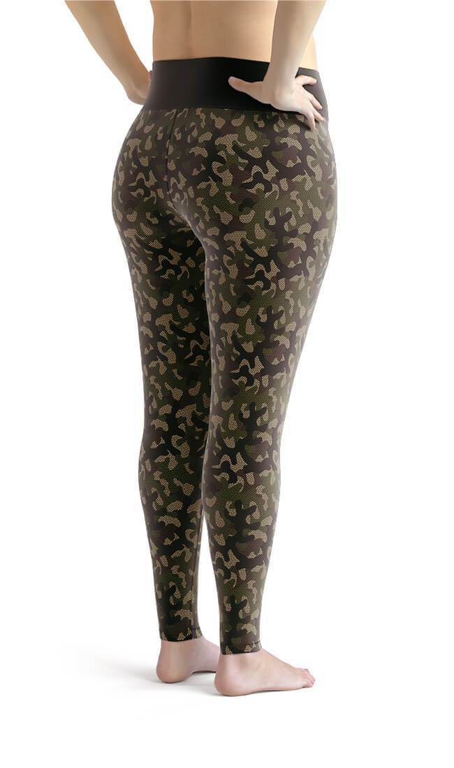 Curvy Bottom Camouflage Net Plus Size Leggings