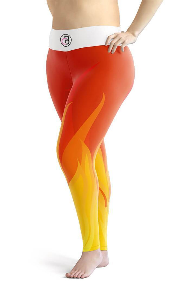 Curvy Bottom Fire Flame Plus Size Leggings