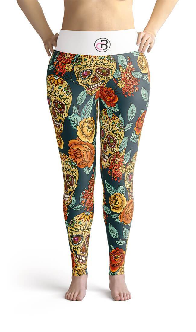 Curvy Bottom Green Floral Skull Plus Size Leggings