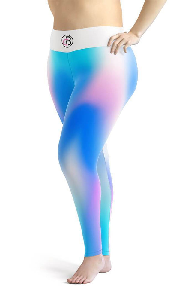 Curvy Bottom Holographic Mesh Plus Size Leggings