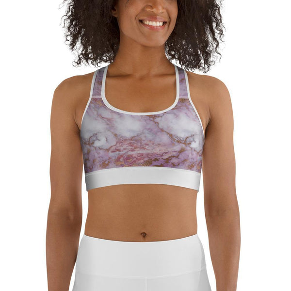 Curvy Bottom Pink Dream Marble Sports bra