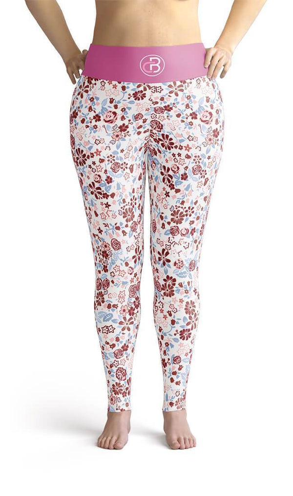 Curvy Bottom Pink Spring Magic Plus Size Leggings