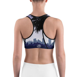 Curvy Bottom Purple Palm Trees Sports bra