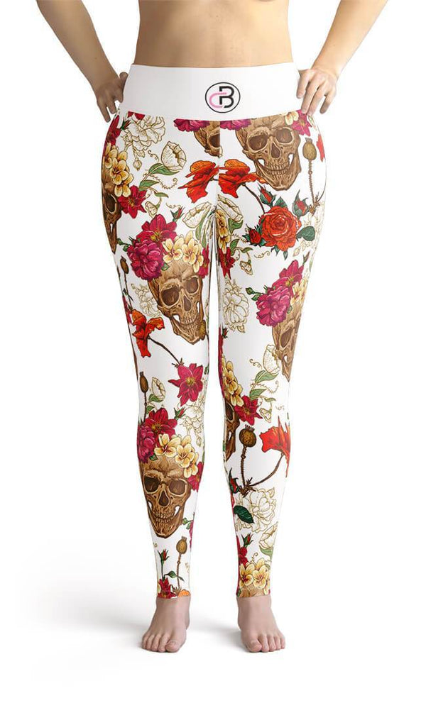 Curvy Bottom White Floral Skull Plus Size Leggings