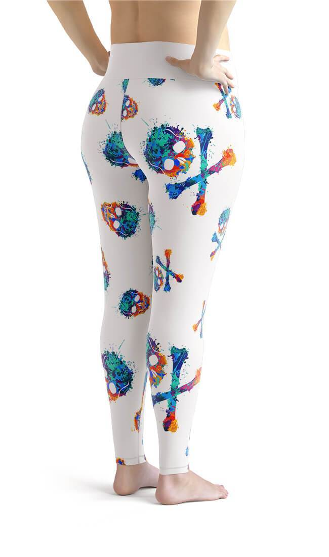 Curvy Bottom White Multicolor Skull Plus Size Leggings