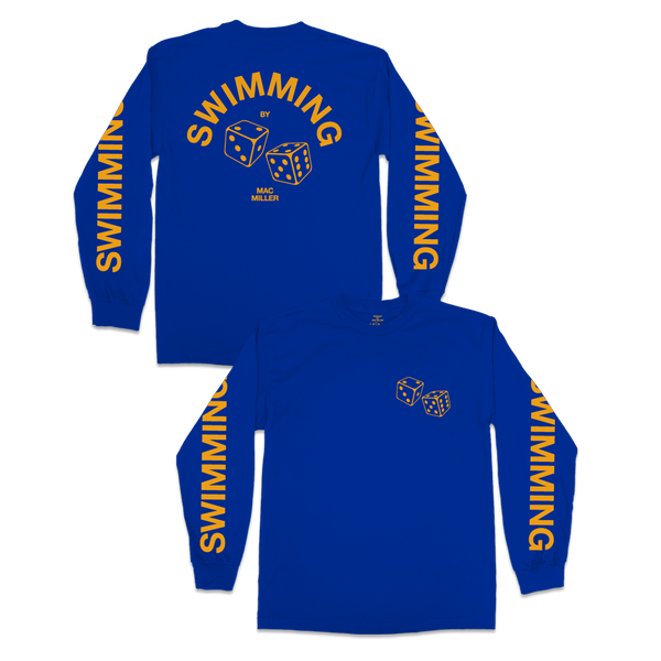 SWIMMING DICE LONG SLEEVE - BLUE - Mac Miller