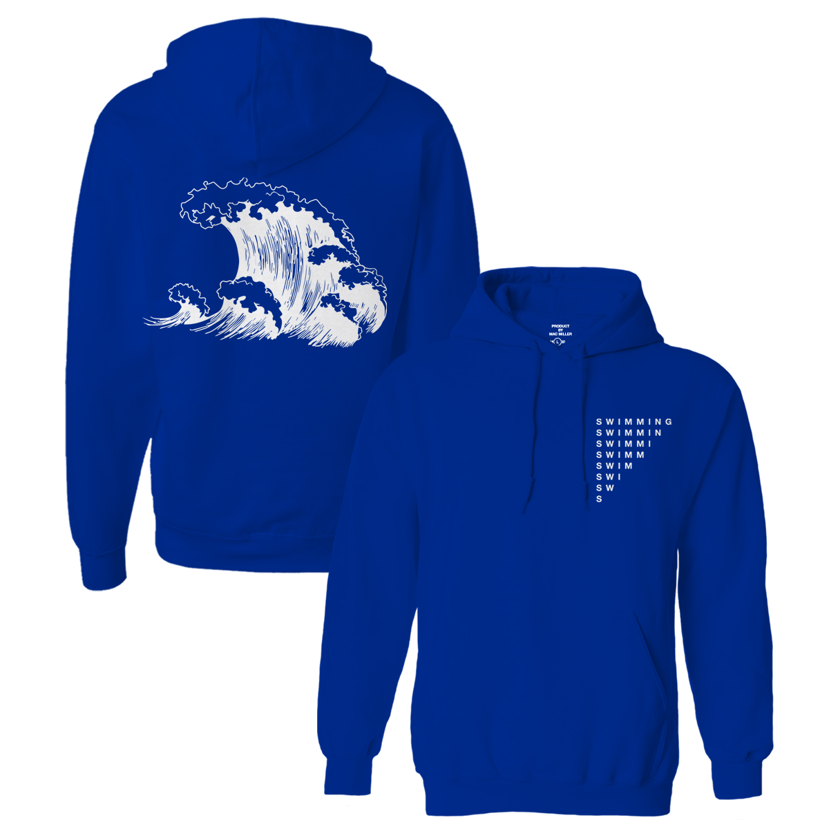 SWIMMING WAVE HOODIE - BLUE - Mac Miller