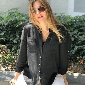 Linen Boyfriend Shirt Black