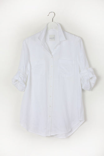 Linen Boyfriend Shirt White